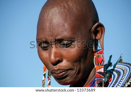 Woman from a Masai tribe in the Masai Mara reserve in Kenya