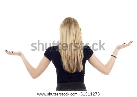 Woman from the back, her hands up, good for placing objects - isolated on white background.