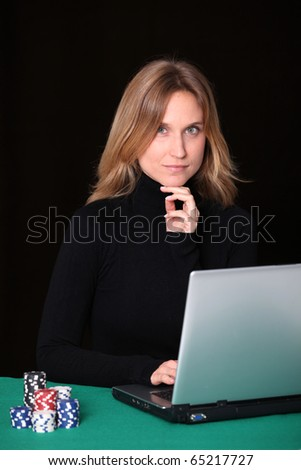 Woman gambling on internet