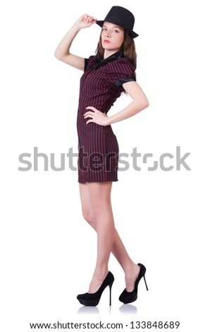 Woman gangster isolated on white - stock photo