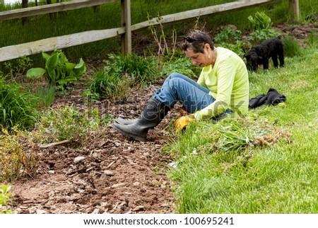 Woman gardener sits on grass when weeding flowerbed