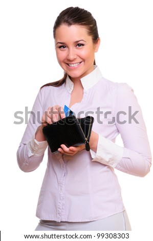 woman getting a credit card out of her wallet. isolated on white