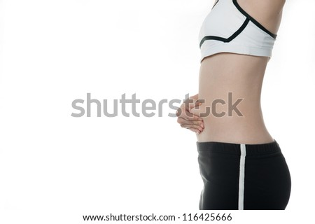 woman getting fat belly in Sports wear need to diet, fitness time for fit body isolated on white background
