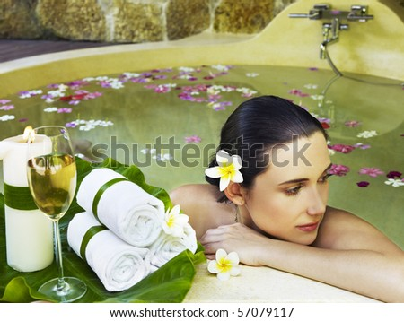 stock photo : Woman getting spa treatment outdoor
