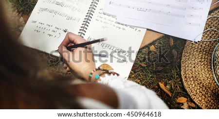 Woman Girl Playing Guitar Writing Song Music Concept