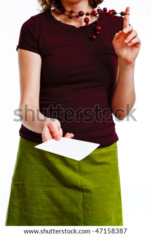 woman giving a leaflet