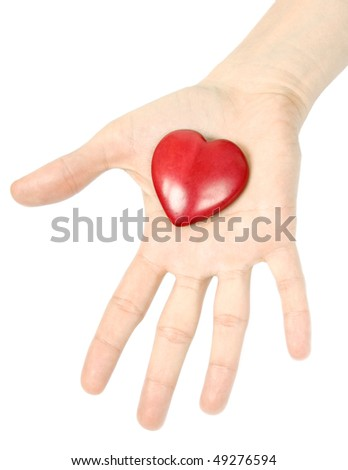 Woman giving a red heart