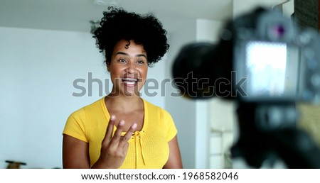Woman giving testimony in front of camera doing explainer video Сток-фото ©