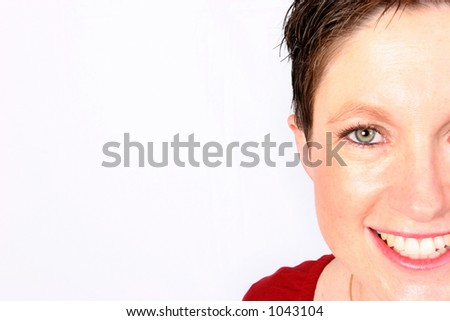 Woman giving you half a smile