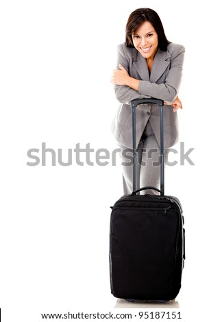 Woman going on a business trip with a bag - isolated over a white background