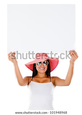 Woman going on holidays and holding a banner - isolated