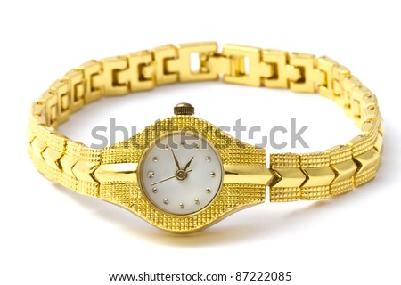 Woman golden wrist watch isolated on white background
