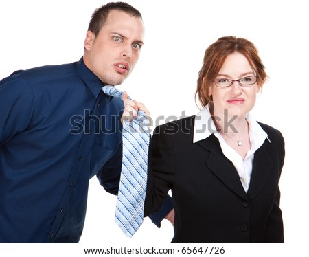 Woman grabs young employee by his neck tie