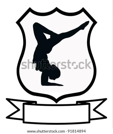 Woman Gymnastics Sport Emblem Badge Shield Logo Insignia Coat of Arms