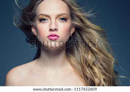 Woman hair beautiful long blonde portrait