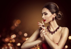 Woman Hair Bun Hairstyle, Fashion Model Beauty Makeup and Red Jewelry, Beautiful Girl Side View