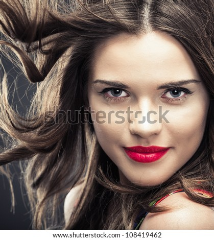 Woman hair style fashion portrait . isolated. close up female face.