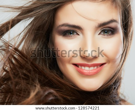 Woman hair style fashion portrait . isolated. close up female face. #128574221