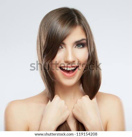 Woman hair style fashion portrait. isolated. close up female face. Long hair.