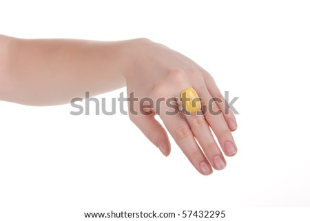 Woman hand and ring. Isolated on white.