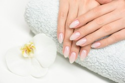 Woman hand care. Hands and spa relaxing. Beauty woman nails.