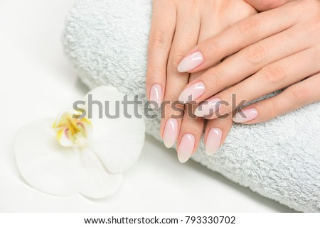 Woman hand care. Hands and spa relaxing. Beauty woman nails. Stock photo ©