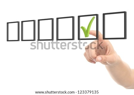 Woman hand checking tick box on a white isolated background