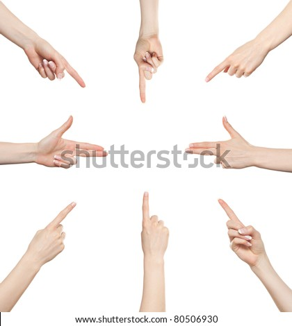 Woman hand gesture set pointing in different directions
