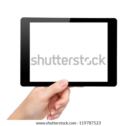 woman hand hold a mini tablet touch pad computer gadget with isolated screen