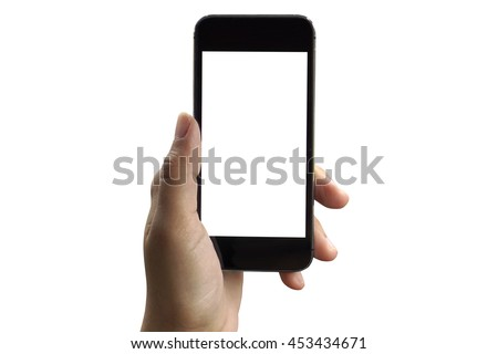 woman hand hold and touch screen smart phone,tablet, Isolated on white background #453434671