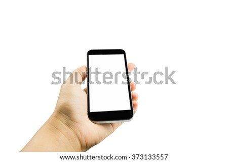 woman hand hold and touch smart phone,cell phone,mobile isolated on white background #373133557