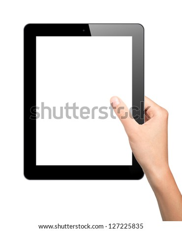 Woman hand hold tablet pc