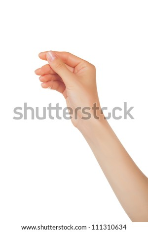 Shutterstock Woman hand hold virtual business card, credit card or blank paper isolated on white background