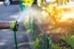 Woman hand holding a hose and watering a flowerbed with plants and flowers in the garden