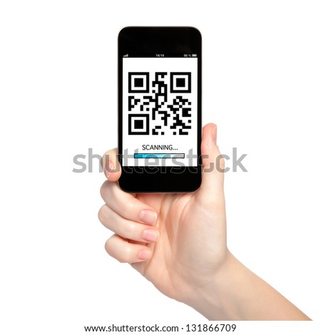 woman hand holding a phone with qr code on the screen with a blue stripe scanning