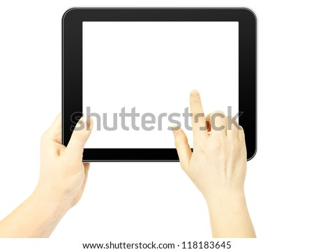 Woman hand holding a tablet and finger touches the screen