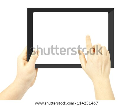 Woman hand holding a tablet pc  and finger touches the screen