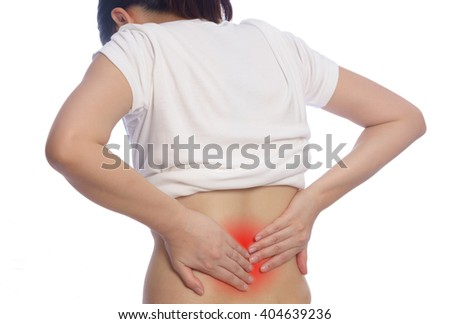 woman hand holding back pain or injury with red alert accent isolated on white background Stok fotoğraf ©