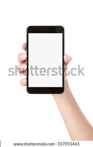 Woman hand holding blank mobile smart phone isolated on white background with clipping path for the screen