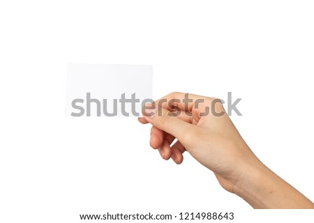woman hand holding business card isolated on white background with clipping path