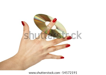 Woman hand holding CD