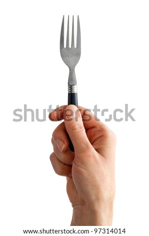 Woman hand holding fork isolated on white