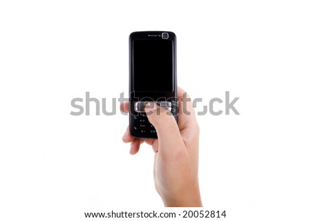 woman hand holding mobile phone isolated on white background. landscape orientation.