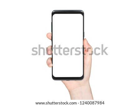 Woman hand holding modern smatphone mockup on white background #1240087984