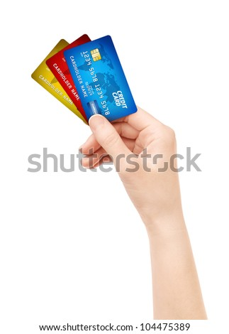 Woman hand holding pack of plastic credit card. Isolated on white.
