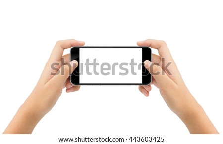 woman hand holding phone isolated white background cutout clipping path #443603425
