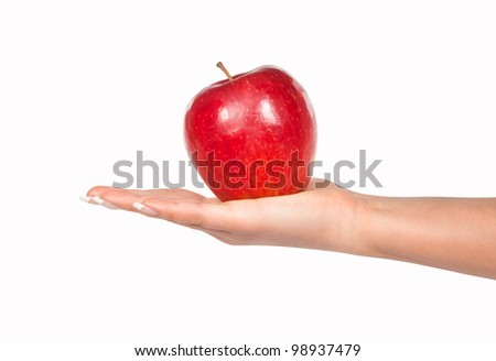 Woman hand holding ripe apple isolated on white