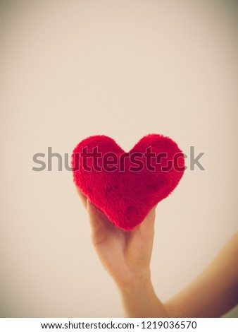 Woman hand holding small red heart shaped heart. Cardiology and healthcare concept. Valentines day gift. #1219036570