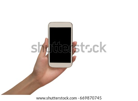 Woman hand holding smart phone isolated on white background with clipping path. #669870745