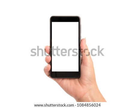 Woman hand holding smartphone isolated on white background. #1084856024